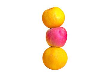 Orange mit Apfel