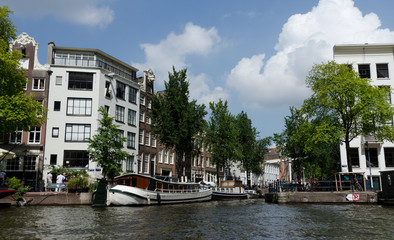 Busy intersection of canals in Amsterdam