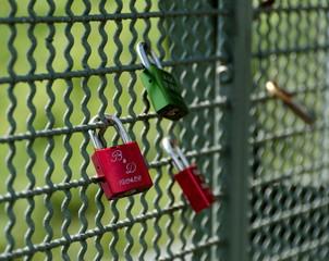 Love locks on a bridge in Herdecke, Nordrheine-Westfalen