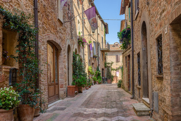 Alley in Italian old town Pienza Tuscany Italy