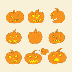 Pumpkin icons with scary faces