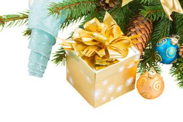 christmas decorations   on fir tree border
