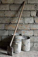 Old shovel and buckets
