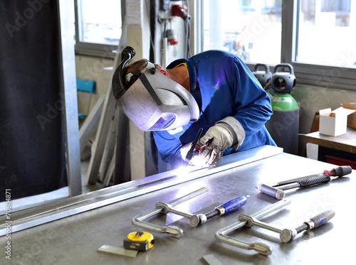 canvas print picture Schweißer in der Industrie // welding operator