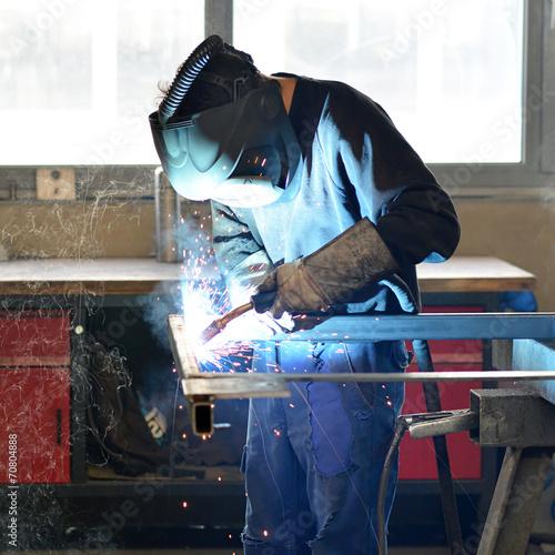 canvas print picture Schweißer im Stahlbau // welder in the industry