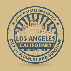 Grunge rubber stamp with name of Los Angeles, California