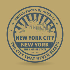 Grunge rubber stamp with name of New York, New York City