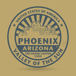 Grunge rubber stamp with name of Phoenix, Arizona
