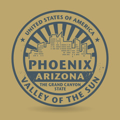 Grunge rubber stamp with name of Phoenix, Arizona