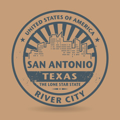 Grunge rubber stamp with name of San Antonio, Texas