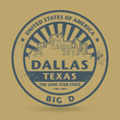 Grunge rubber stamp with name of Dallas, Texas