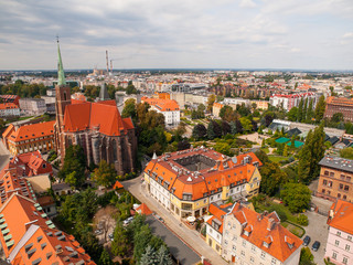 Aerial view of Wroclaw botanical garden