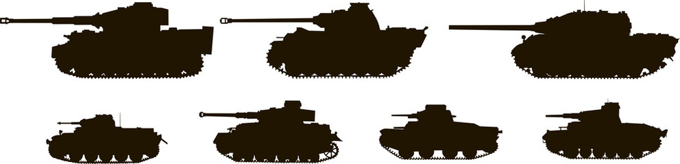 Silhouettes Tanks World War II