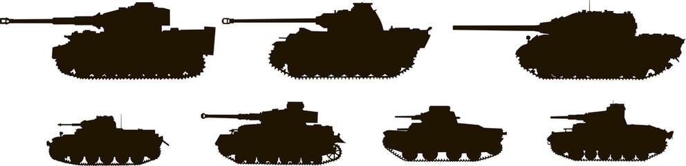 Silhouettes Tanks World War II