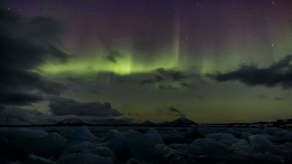 Northern Lights above the frozen fjord