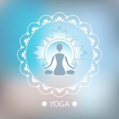 Yoga lotus pose decorative emblem background blurred