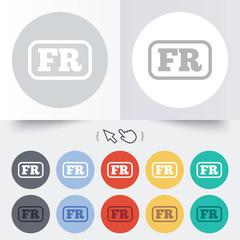 French language sign icon. FR translation.