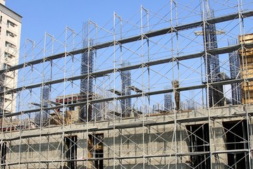 The construction site and steel frame in city