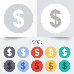 Dollar sign icon. USD currency symbol.