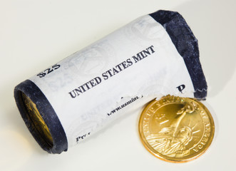 US mint roll of presidential dollar coins