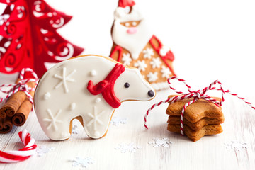 Gingerbread polar bear and Santa Claus