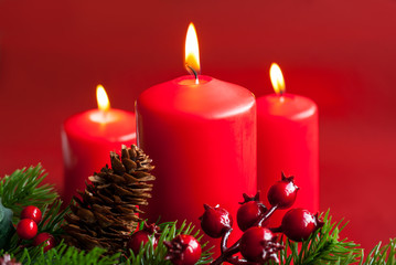 Christmas candles with decor