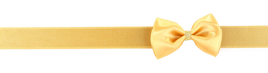Golden ribbon and bow isolated on white