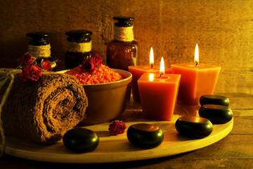 Composition with spa treatment on wooden background