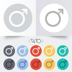Male sign icon. Male sex button.