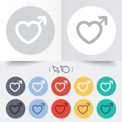 Male sign icon. Male sex button.