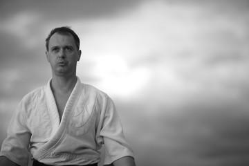 Portrait of aikido fighter, monochrome