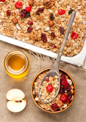 Granola muesli with honey and dried fruit.