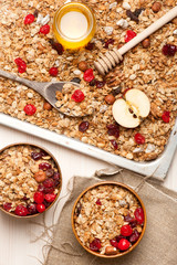 Granola with berries, fruits, honey and nuts. Top view.