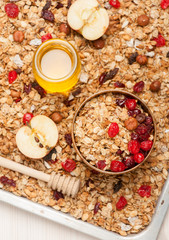 Granola with berries, honey and nuts