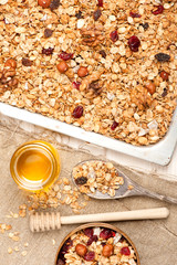 Granola with honey, dried fruit and nuts. See series