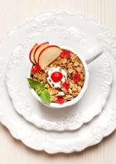 Granola.Delicious breakfast.