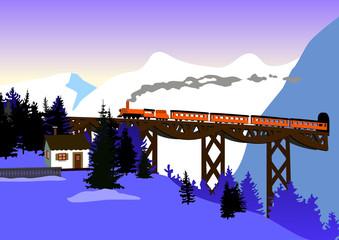 train mountains