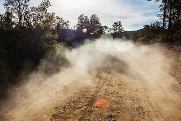 Dust on road