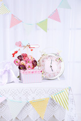 Wedding table for gifts and decorations, on bright background