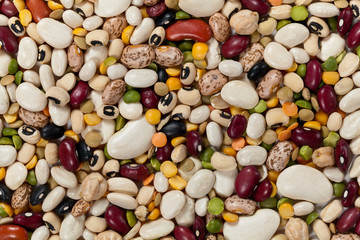 Mixed beans. Macro. For backgrounds or textures.