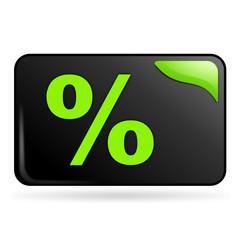 pourcentage sur bouton web rectangle vert