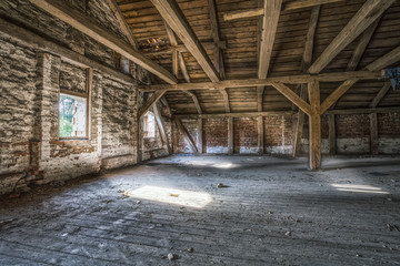 Loft in an old, abandoned building