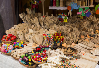 Wooden items for sale on a market in Krakow