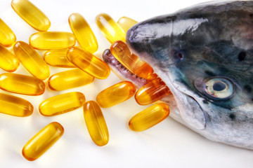 Omega-3 vitamin capsules with fish