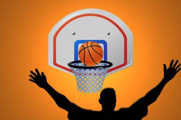 Baloncesto, pelota, canasta, cesta, encestando