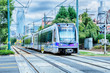 Leinwandbild Motiv charlotte north carolina light rail transportation moving system
