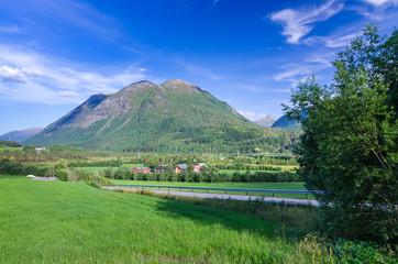 Summer road to Norwegian village
