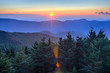 Blue Ridge Parkway Autumn Sunset over Appalachian Mountains - 70813209