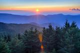 Blue Ridge Parkway Autumn Sunset over Appalachian Mountains