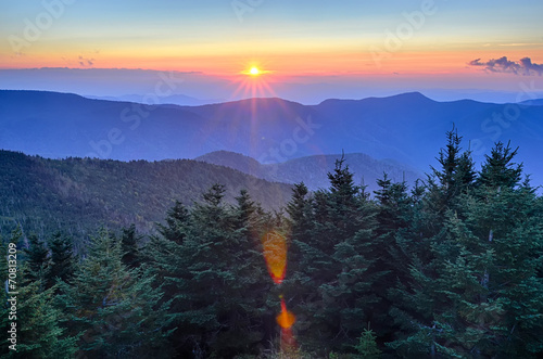 Fotobehang Bergen Blue Ridge Parkway Autumn Sunset over Appalachian Mountains